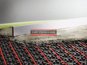 Extrémne nízka konštrukcia podlahového vykurovania prísadami do poteru o...